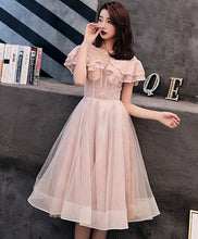 Load image into Gallery viewer, Pink Tulle Lace Short Prom Dress, Pink Homecoming Dress