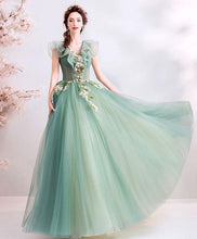 Load image into Gallery viewer, Green V Neck Tulle Lace Long Prom Dress, Green Evening Dress