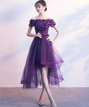 Load image into Gallery viewer, Purpler Tulle Lace Short Prom Dress, Purple Evening Dress