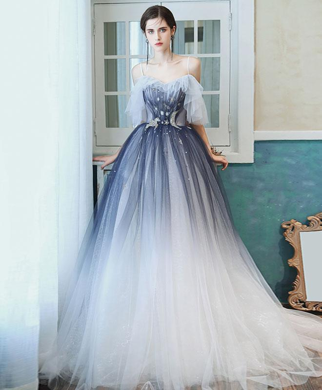 Unique Sweetheart Tulle Blue Long Prom Dress Blue Tulle Evening Dress A011