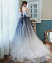 Load image into Gallery viewer, Unique Sweetheart Tulle Blue Long Prom Dress Blue Tulle Evening Dress A011
