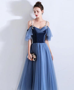 Simple Blue Sweetheart Short Prom Dress, Blue Bridesmaid Dress
