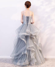 Load image into Gallery viewer, Gray Tulle Lace Long Prom Dress, Gray Tulle Lace Evening Dress