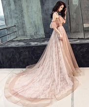 Load image into Gallery viewer, Pink Tulle Long Prom Dress, Pink Tulle Evening Dress