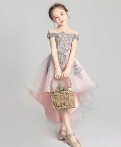 Pink Tulle Lace Flower Girl Dress, Cute Girls Dress