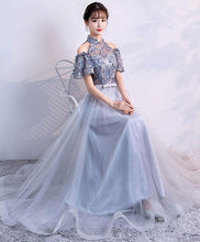 Load image into Gallery viewer, Unique Gray Tulle Applique Long Prom Dress, Gray Tulle Evening Dress