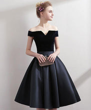 Load image into Gallery viewer, Black Satin Short Prom Dress, Black Homecoming Dress