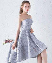 Load image into Gallery viewer, Unique Gray Lace Two Pieces Prom Dress, Gray Lace Homecoming Dress