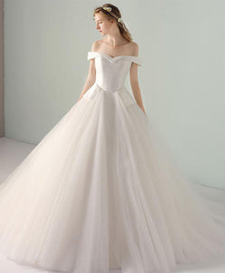 Simple White Tulle Off Shoulder Long Wedding Dresses