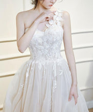 Load image into Gallery viewer, Light Champagne Tulle Lace Long Prom Dress, Wedding Dress