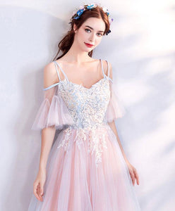 Pink Sweetheart Tulle Lace Applique Long Prom Dress, Pink Evening Dress