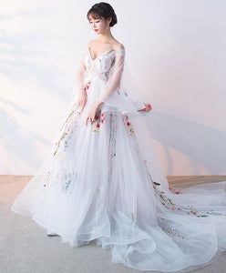White Tulle Applique Long Prom Dress, White Evening Dress A043