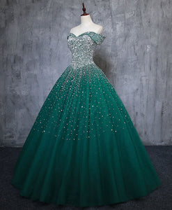 Green Tulle Sequin Long Prom Gown Green Sequin Sweet 16 Dress A039