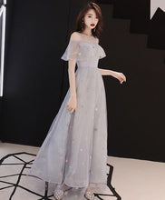 Load image into Gallery viewer, Gray Tulle Tea Length Prom Dress, Gray Tulle Evening Dress