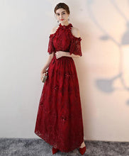 Load image into Gallery viewer, Unique Lace Applique Burgundy Long Prom Dress, Lace Evening Dress