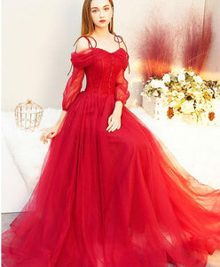 Red Tulle Long Prom Dress, Tulle Red Evening Dress