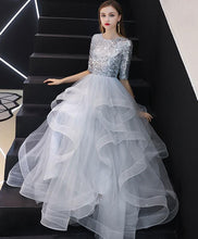 Load image into Gallery viewer, Gray Tulle Sequin Long Prom Dress, Gray Tulle Evening Dress