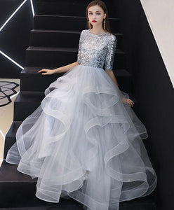 Gray Tulle Sequin Long Prom Dress, Gray Tulle Evening Dress
