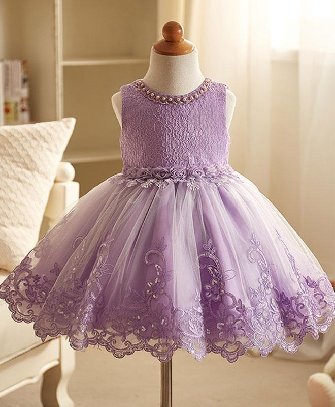 Purple Lace Flower Girl Dress, Pink Baby Dress