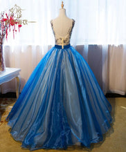 Load image into Gallery viewer, Royal Blue V Neck Lace Applique Long Prom Dress, Blue Evening Dress