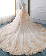 Load image into Gallery viewer, Unique Champagne Tulle Lace Long Wedding Dress, Bridal Gown