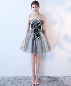 Simple Gray Tulle Short Prom Dress, Gray Homecoming Dress