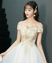 Load image into Gallery viewer, White Tulle Off Shoulder Short Prom Dress, Tulle Homecoming Dress
