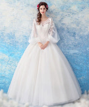 Load image into Gallery viewer, White Tulle Lace Round Neck Long Prom Dress, White Tulle Evening Dress