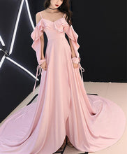 Load image into Gallery viewer, Simple Pink Chiffon Long Prom Dress Pink Evening Dress