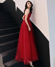 Load image into Gallery viewer, Simple Burgundy Long Prom Dress, Burgundy Evening Dress