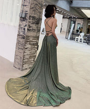 Load image into Gallery viewer, Unique Backless Long Prom Dress, Green Evening Dress