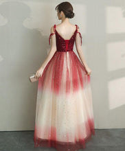 Load image into Gallery viewer, Unique Tulle Burgundy Long Prom Dress, Burgundy Tulle Evening Dress