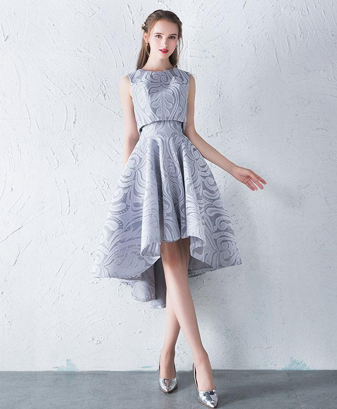 Unique Gray Lace Two Pieces Prom Dress, Gray Lace Homecoming Dress