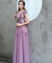 Load image into Gallery viewer, Purple Round Neck Tulle Long Prom Dress, Purple Evening Dress