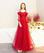 Load image into Gallery viewer, Red Tulle Long Prom Dress, Tulle Red Evening Dress