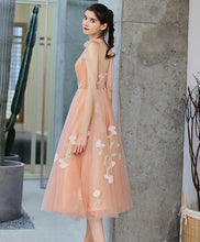 Load image into Gallery viewer, Pink Tulle Lace Applique Short Prom Dress, Pink Homecoming Dress