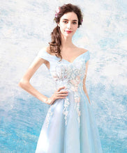Load image into Gallery viewer, Blue Off Shoulder Long Prom Dress, Blue Lace Evening Dress