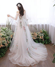Load image into Gallery viewer, White V Neck Tulle Lace Applique Long Prom Dress, White Evening Dress
