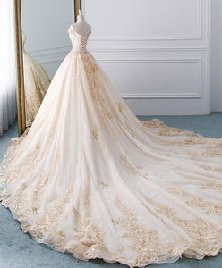 Unique Champagne Tulle Lace Long Wedding Dress, Bridal Gown