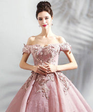 Load image into Gallery viewer, Pink Tulle Off Shoulder Long Prom Dress, Pink Lace Evening Dress