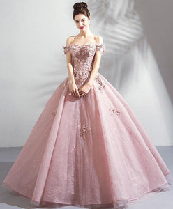 Pink Tulle Off Shoulder Long Prom Dress, Pink Lace Evening Dress