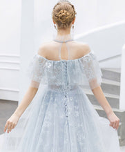 Load image into Gallery viewer, Light Blue Tulle Lace Long Prom Dress Blue Tulle Lace Evening Dress