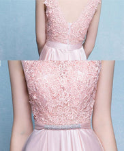 Load image into Gallery viewer, Pink Round Neck Lace Long Prom Dress. Pink Evening Dress
