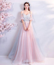 Load image into Gallery viewer, Pink Sweetheart Tulle Lace Applique Long Prom Dress, Pink Evening Dress