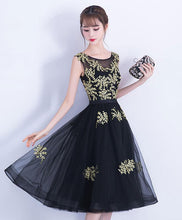 Load image into Gallery viewer, Black Tulle Lace Short Prom Dress, Black Homecoming Dress