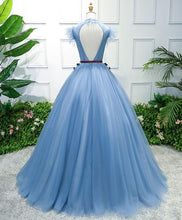 Load image into Gallery viewer, Blue High Neck Tulle Blue Long Prom Dress, Blue Evening Dress
