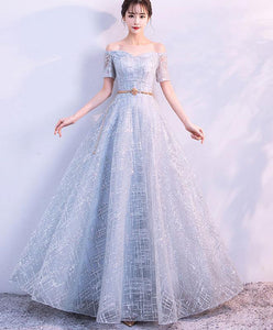 Unique Tulle Gray Long Prom Dress, Tulle Gray Evening Dress