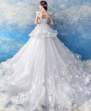 Load image into Gallery viewer, White Round Neck Lace Long Wedding Gown, Lace Wedding Dress