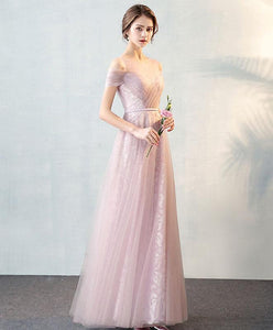 Pink Tulle Lace Long Prom Dress, Pink Evening Dress