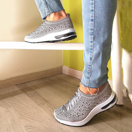 Women Slip-On Low Heel Rhinestone Sneakers Plus Sizes